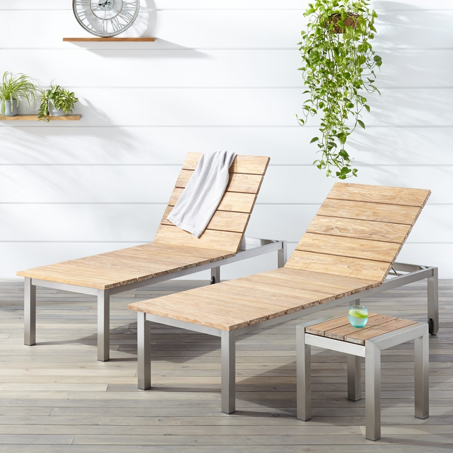 Famous Outdoor Chaise Lounges In Macon 3 Piece Teak Outdoor Chaise Lounge Chair Set – Whitewash (View 11 of 15)