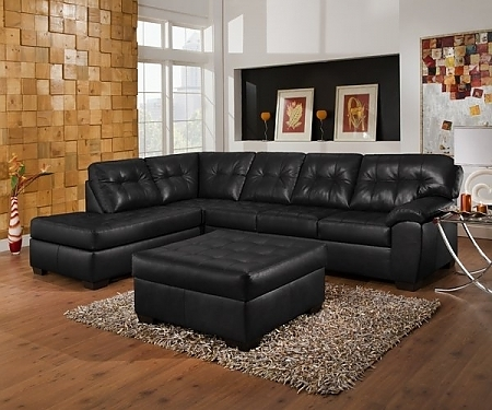 Famous Pottery Barn Style Leather Sectional And Cocktail Ottoman – $1199 Pertaining To Leather Sectionals With Ottoman (View 4 of 10)