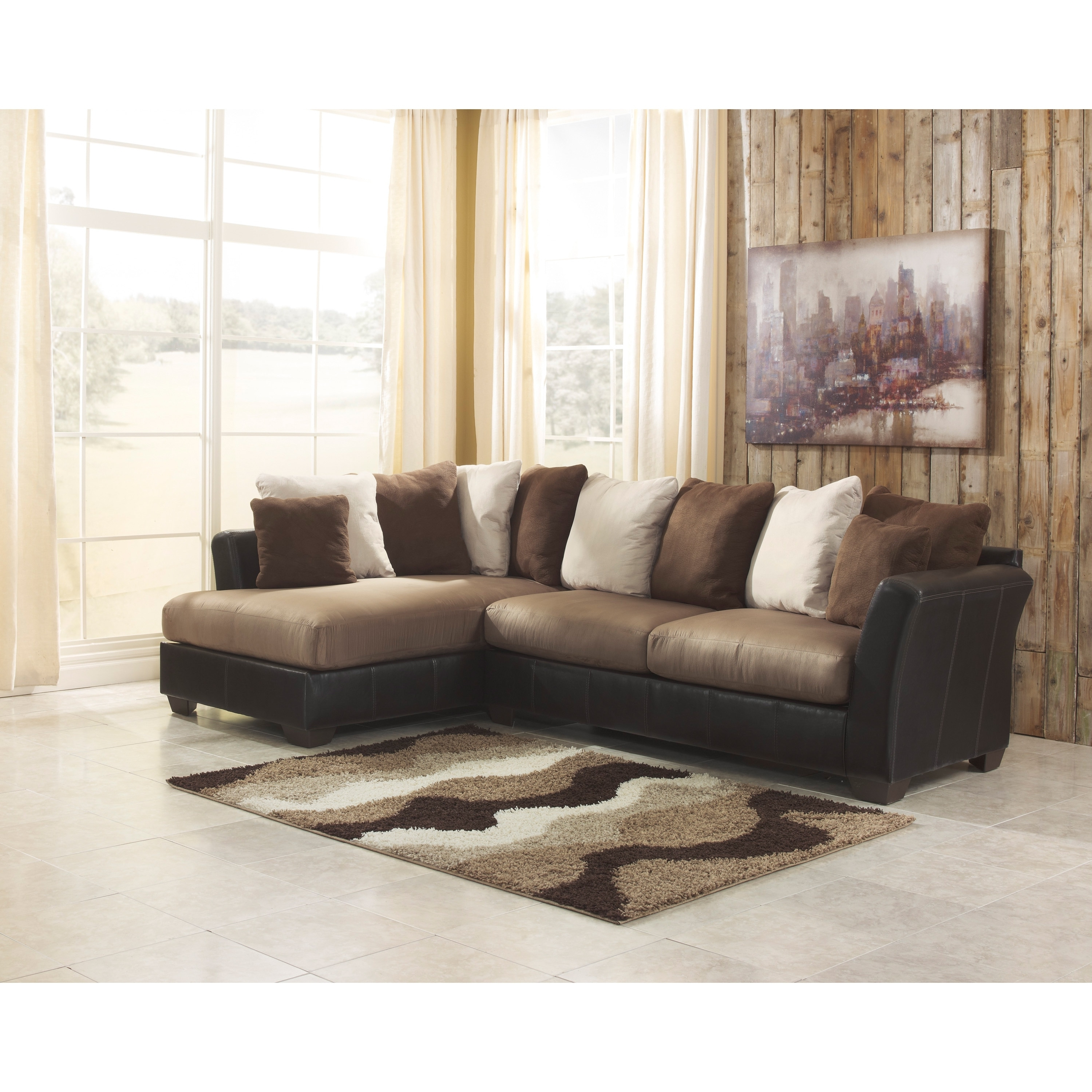 Famous Signature Designashley Masoli 2 Piece Mocha Corner Chaise And With Regard To 2 Piece Sectionals With Chaise (View 13 of 15)