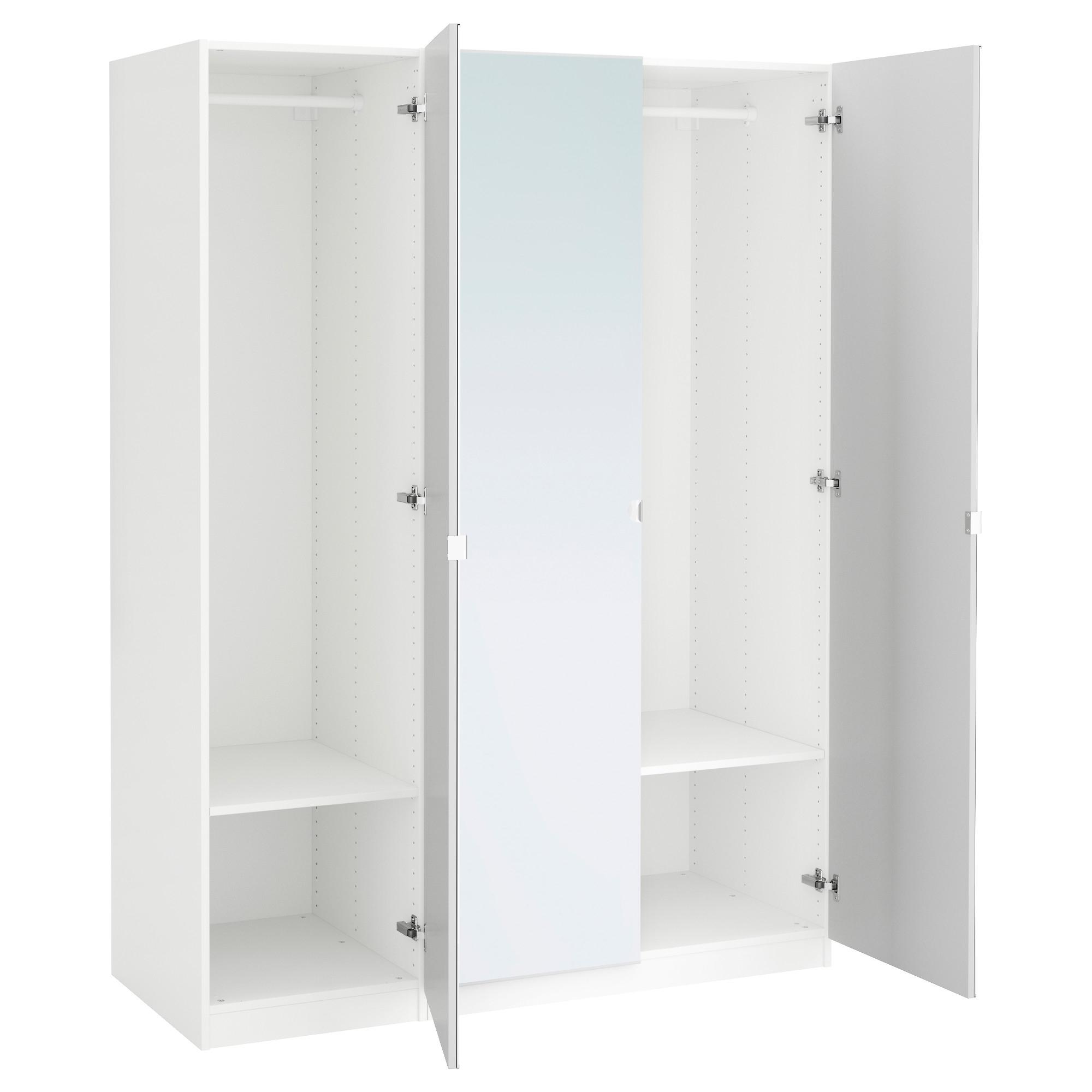 Famous Single White Wardrobes Regarding Pax Wardrobe White/vikedal Mirror Glass 150X60X201 Cm – Ikea (View 1 of 15)