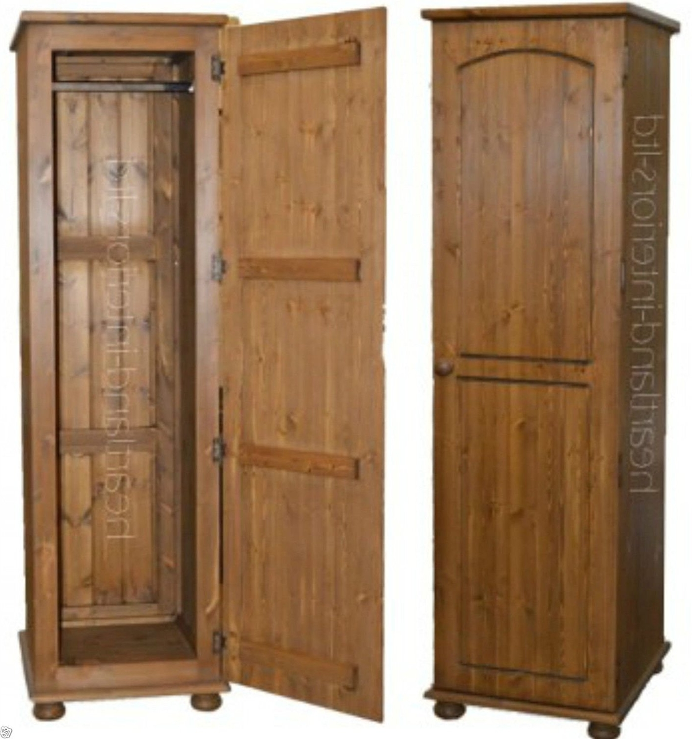 Famous Solid Pine 1 Door Single Wardrobe, Handcrafted & Waxed Pine Pertaining To Single Pine Wardrobes (View 4 of 15)