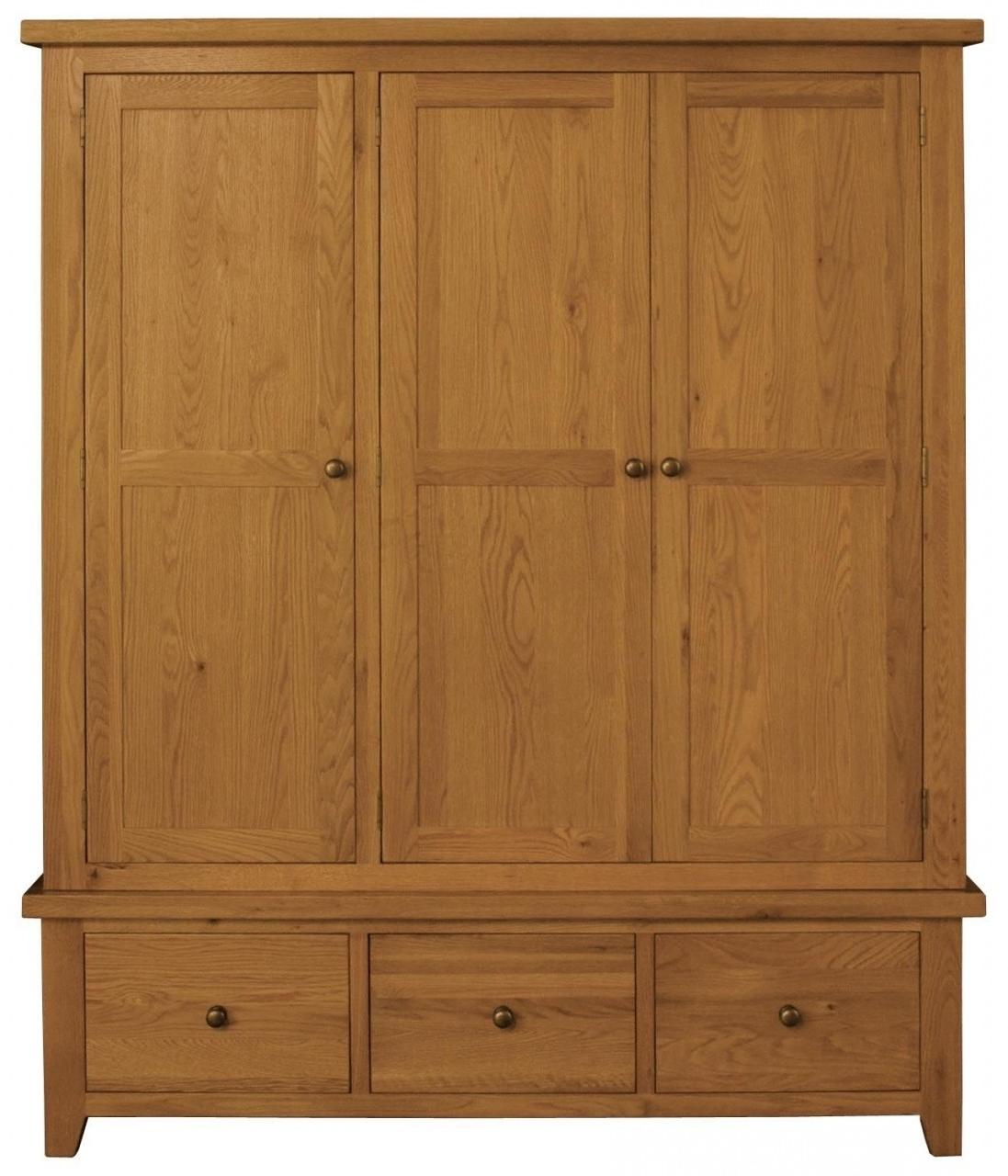 Famous Triple Door Wardrobes For Buy Vermont Oak Triple Wardrobe – 3 Door 3 Drawer Online – Cfs Uk (View 13 of 15)