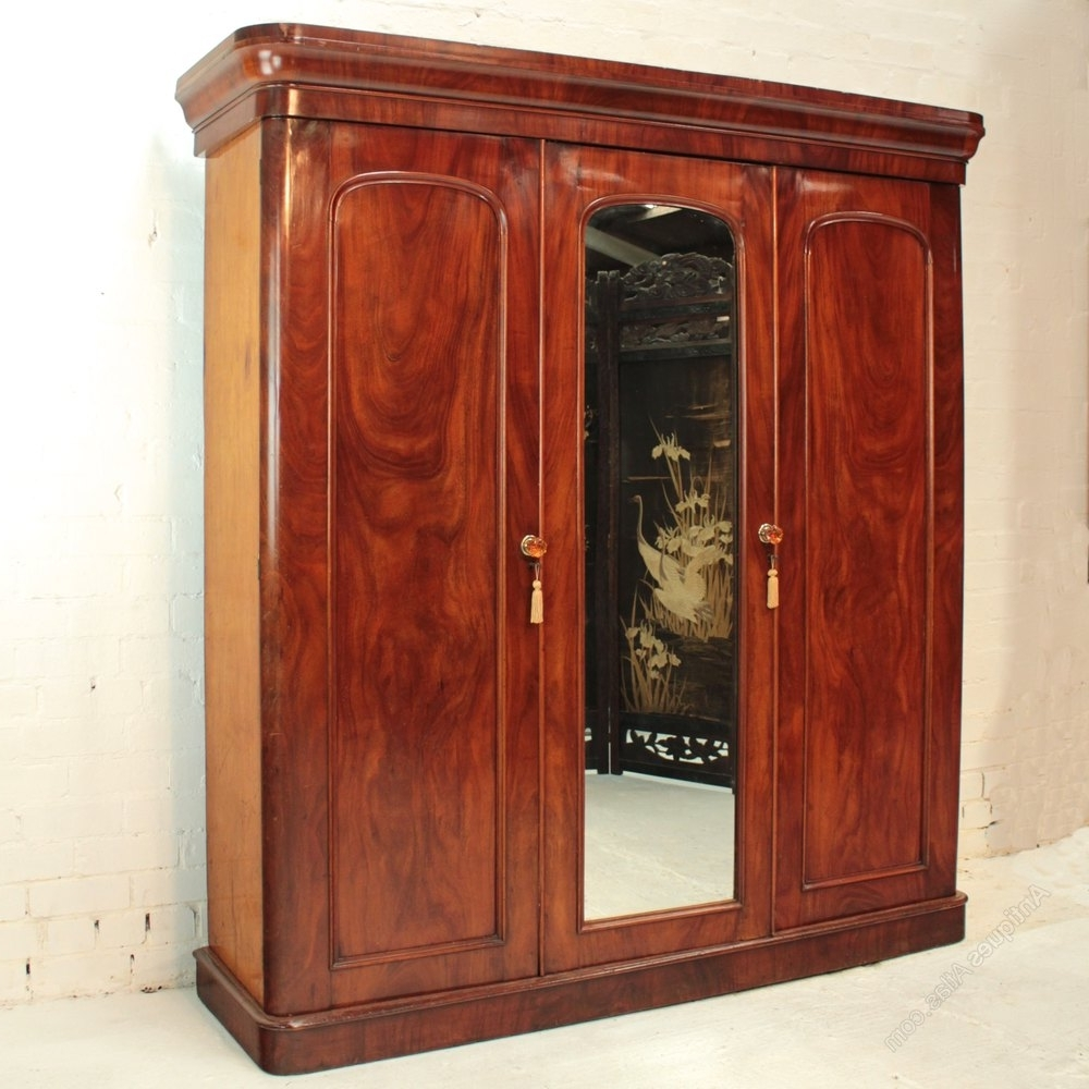Famous Victorian Mahogany Three Door Fitted Wardrobe – Antiques Atlas Throughout Victorian Wardrobes (View 4 of 15)