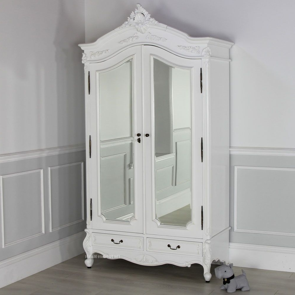 Famous White French Wardrobes Regarding How To Decorate Mirrored Armoire With Paint – Http://digablearts (View 3 of 15)