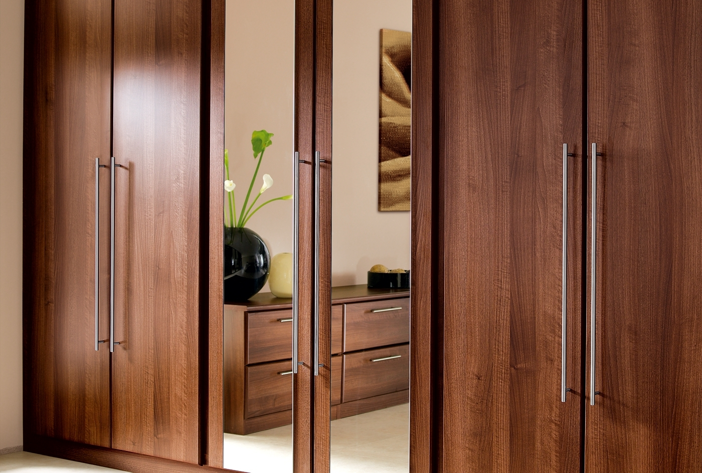 Famous Wooden Wardrobes With Built In Wardrobes Timber Finish With Opaque Glass (View 14 of 15)