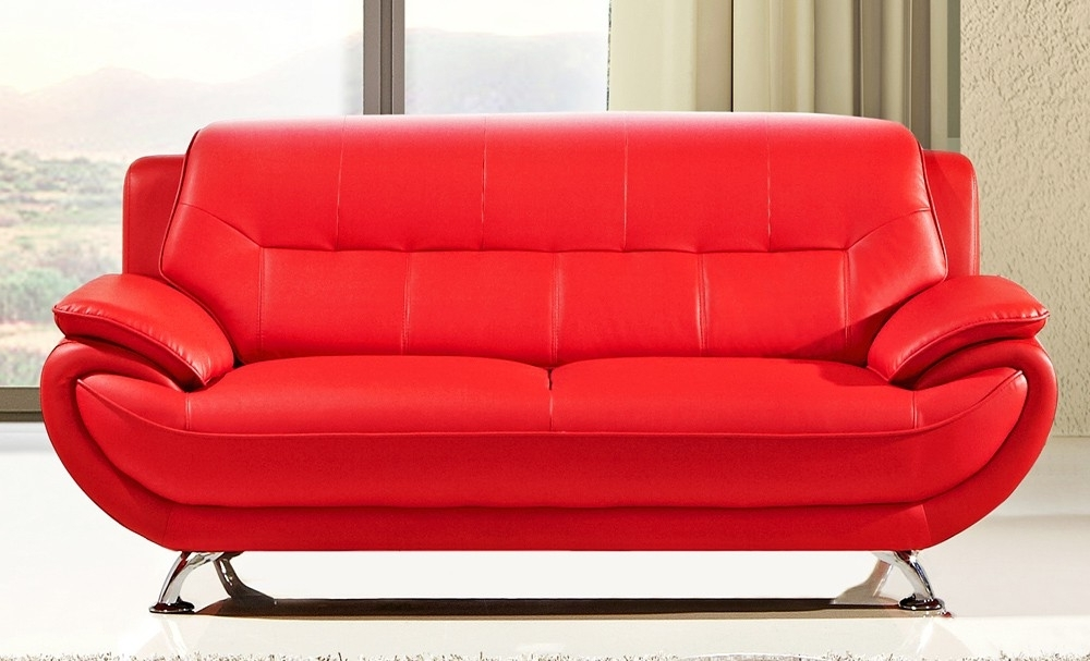 Fancy Bright Red Leather Sofa 67 With Additional Office Sofa Ideas With Best And Newest Red Leather Sofas (View 3 of 10)