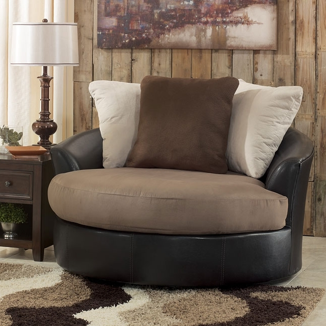 Fantastic Large Swivel Chairs Living Room Oversized Round On With Popular Cuddler Swivel Sofa Chairs (View 2 of 10)