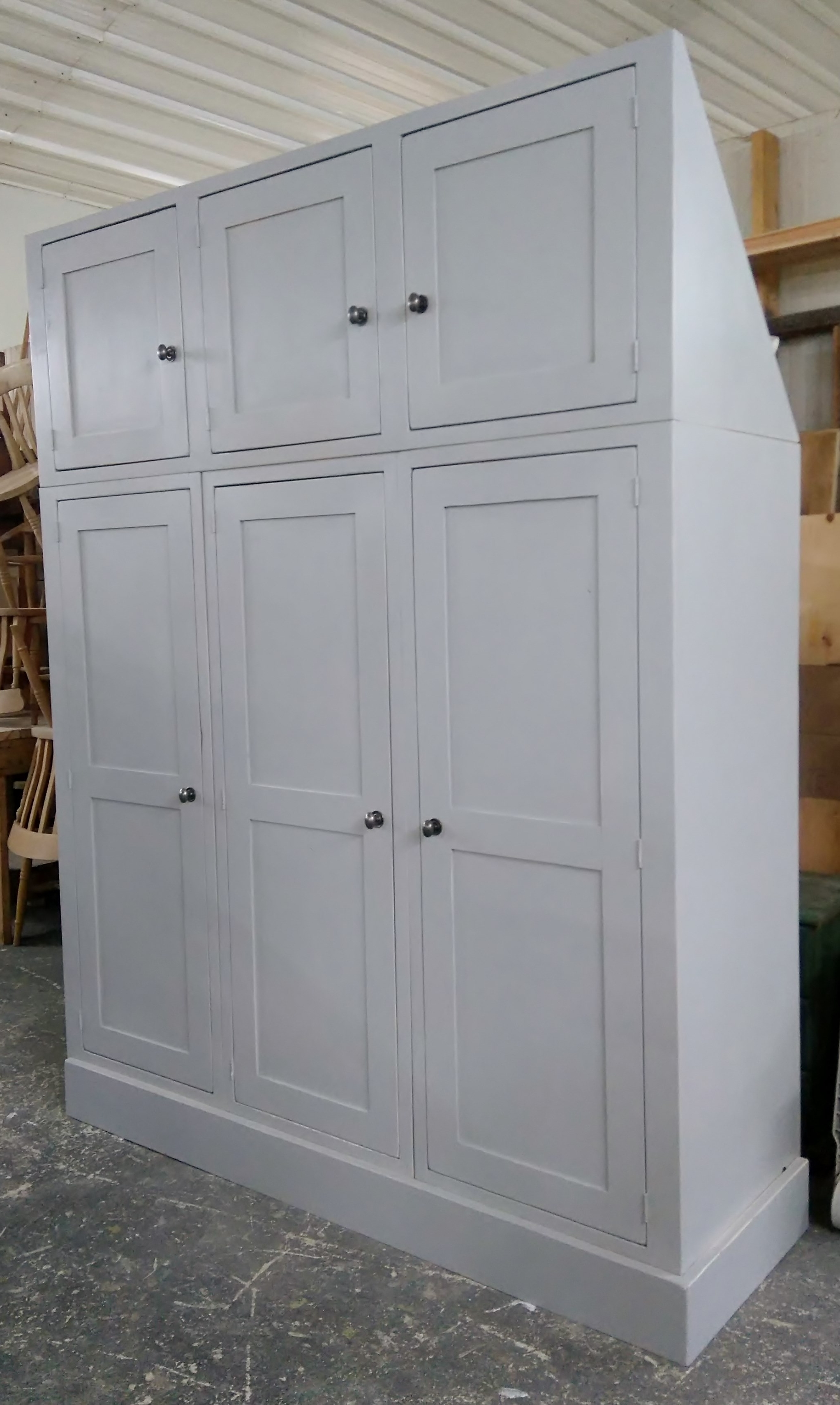 Farrow And Ball Painted Wardrobes Intended For Most Up To Date Bespoke Reclaimed Pine Triple Wardrobe With Top Cupboards For (View 2 of 15)
