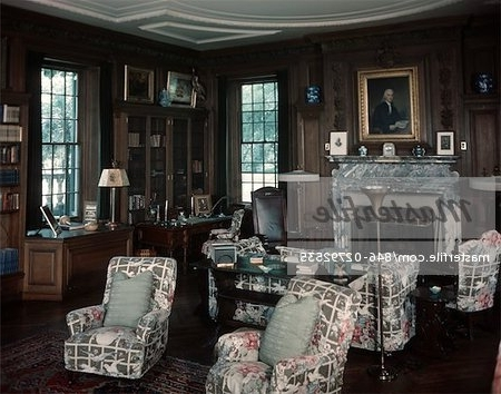 Fashionable 1950S Interior Of Library Room With Chintz Covered Chairs And Sofa Pertaining To Chintz Covered Sofas (View 6 of 10)