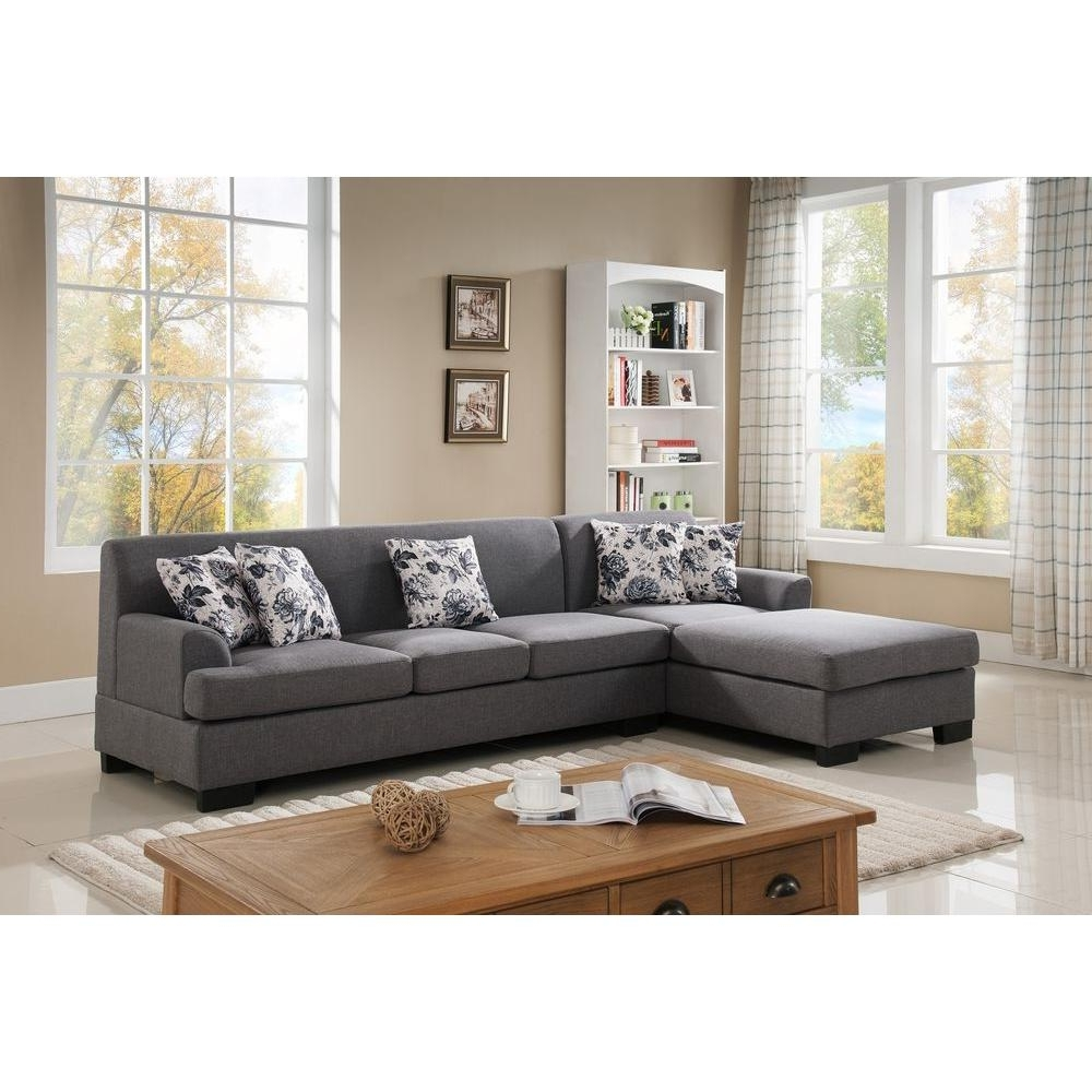 Fashionable 2 Piece Brown Linen Sectional S0072 2pc – The Home Depot In Sectionals With Reversible Chaise (View 7 of 15)