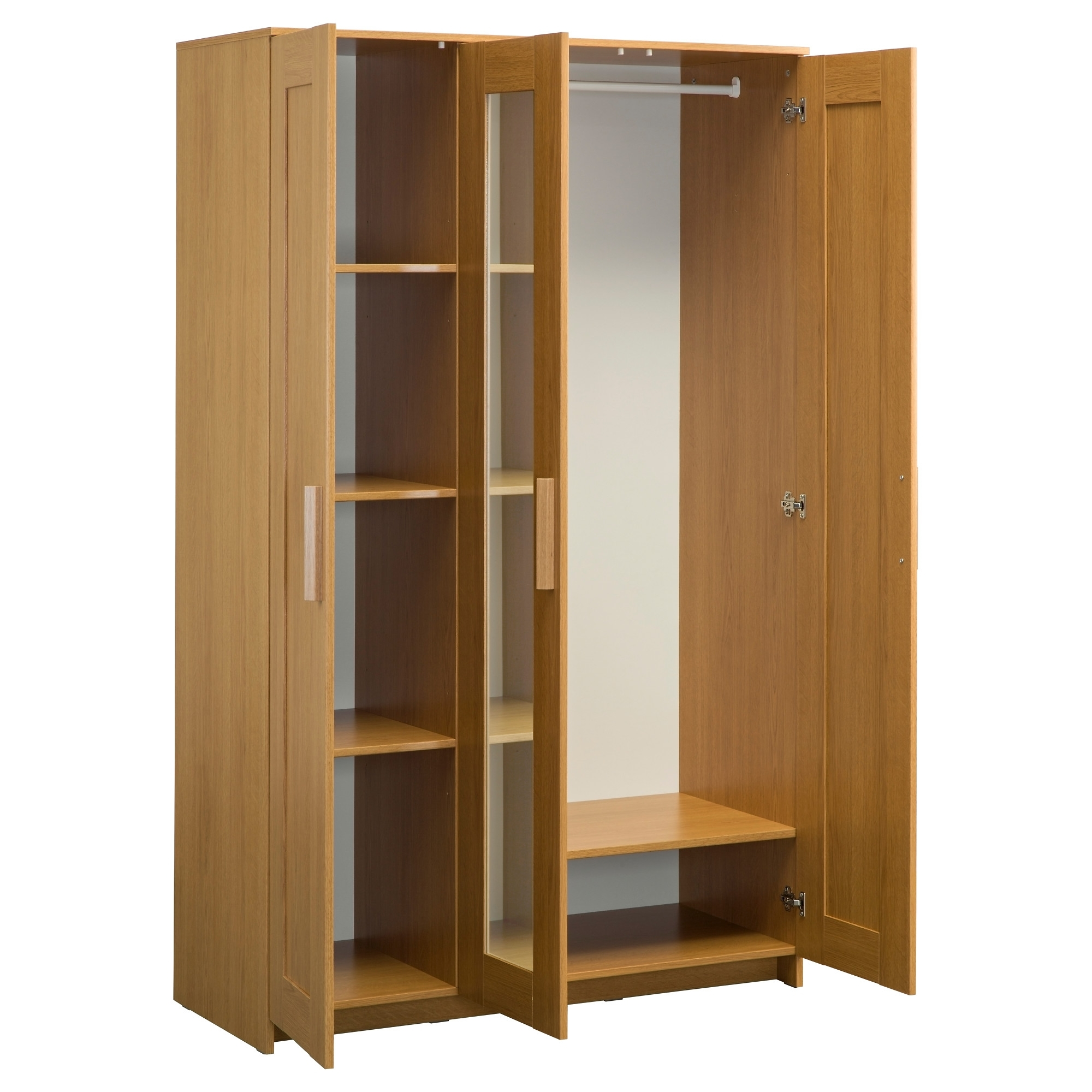 Fashionable 3 Door Pine Wardrobes For Brimnes Wardrobe With 3 Doors Oak Effect 117X190 Cm – Ikea (View 4 of 15)
