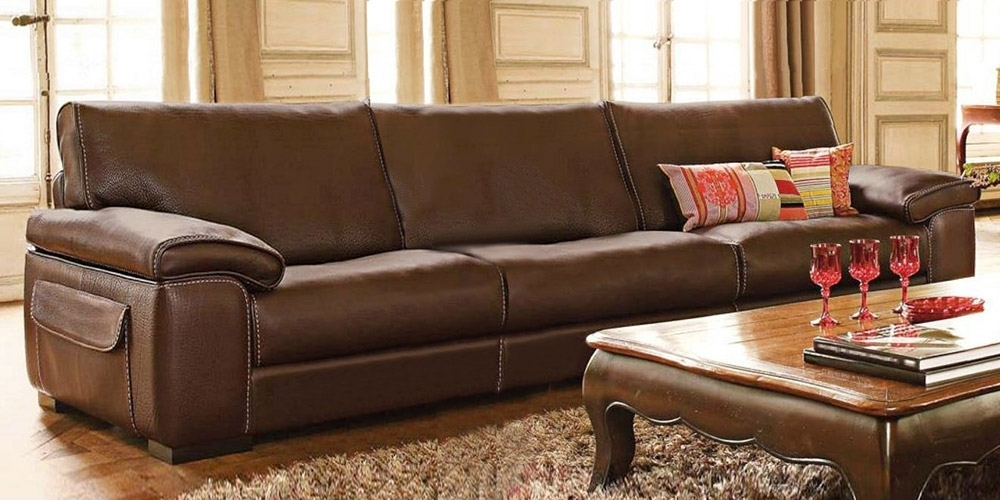 Fashionable 4 Seat Leather Sofas Inside Italian Leather Sofa Monte Carlocalia Maddalena (View 7 of 15)
