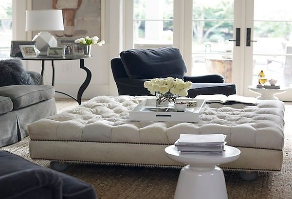 Fashionable An Oversized Tufted Ottoman With Plush Velvet Sofas With Modern Inside Couches With Large Ottoman (View 2 of 10)
