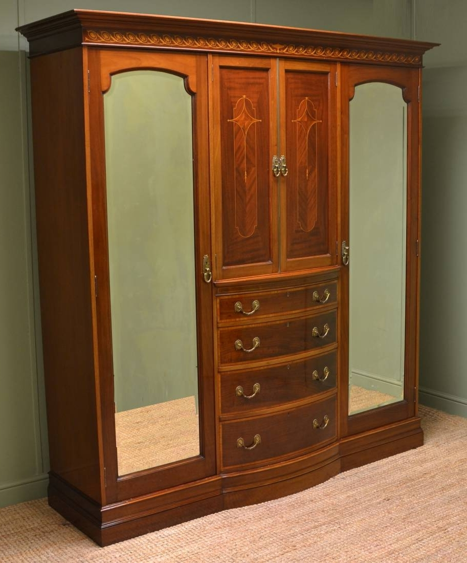 Fashionable Antique Triple Wardrobes In Spectacular Inlaid Mahogany Antique Victorian Triple Wardrobe (View 6 of 15)