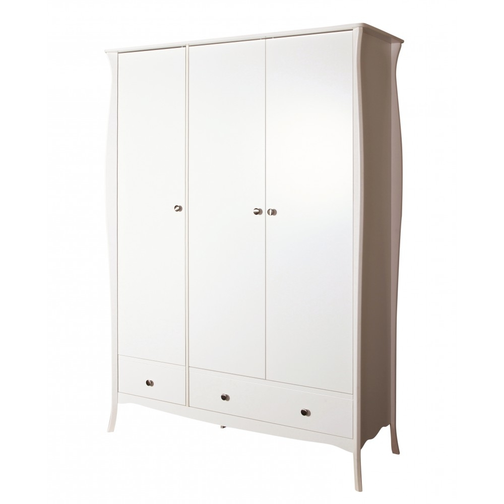 Fashionable Baroque 3 Door Wardrobe White. Traditional Elegant Wardrobes (View 4 of 15)