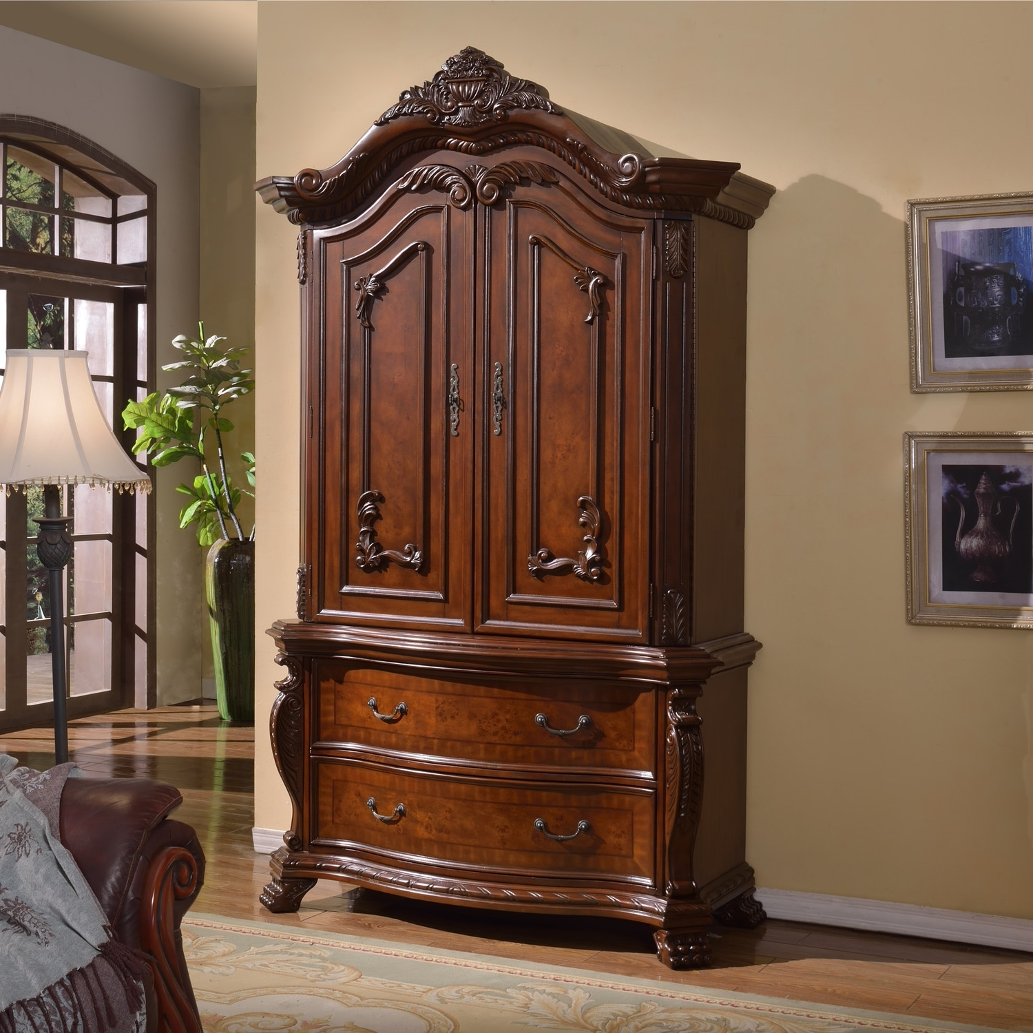 Fashionable Bedroom: Antique Interior Storage Design With Wardrobe Armoire Intended For Black Wood Wardrobes (View 6 of 15)