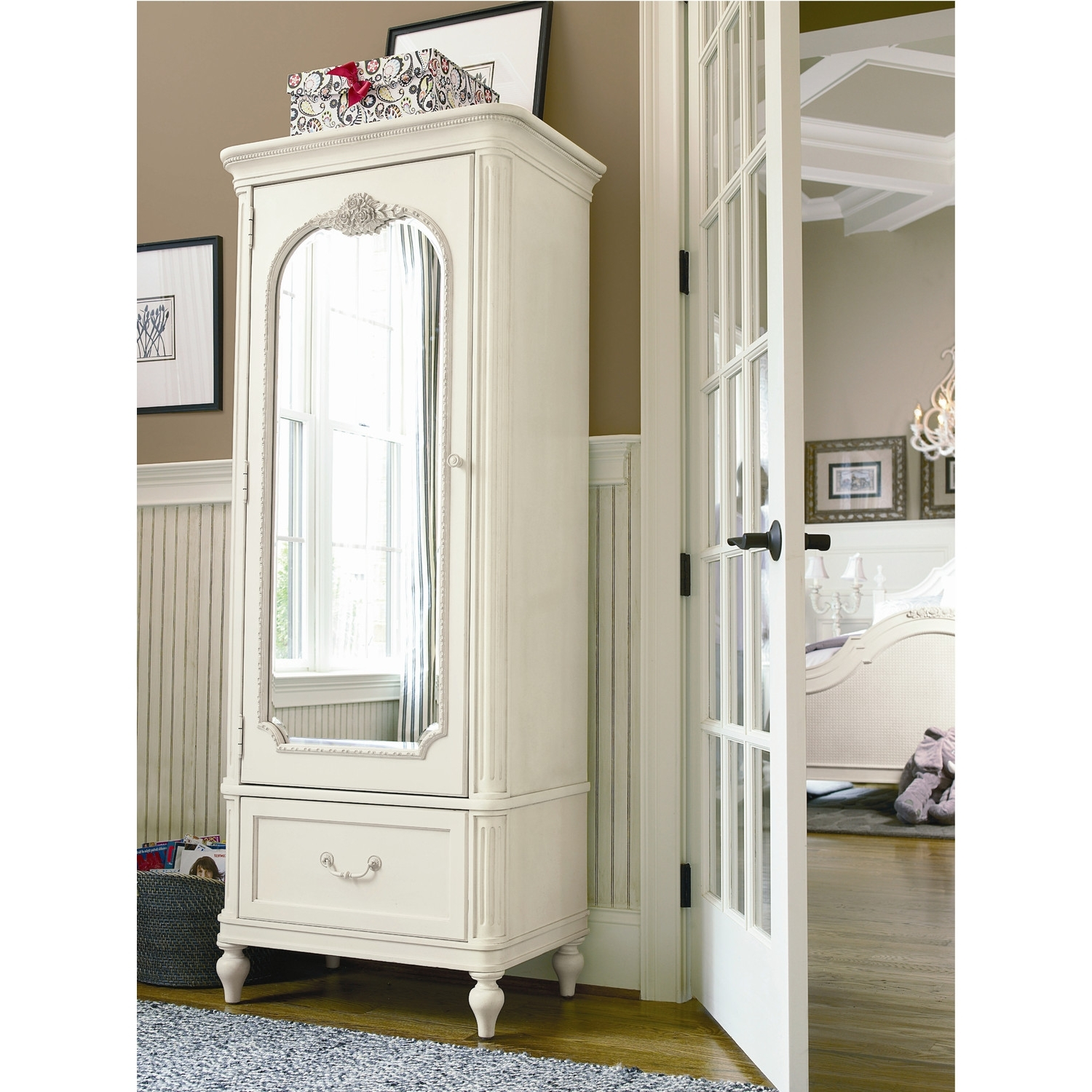 Fashionable Bedroom: Antique Interior Storage Design With Wardrobe Armoire Intended For White Wicker Wardrobes (View 2 of 15)
