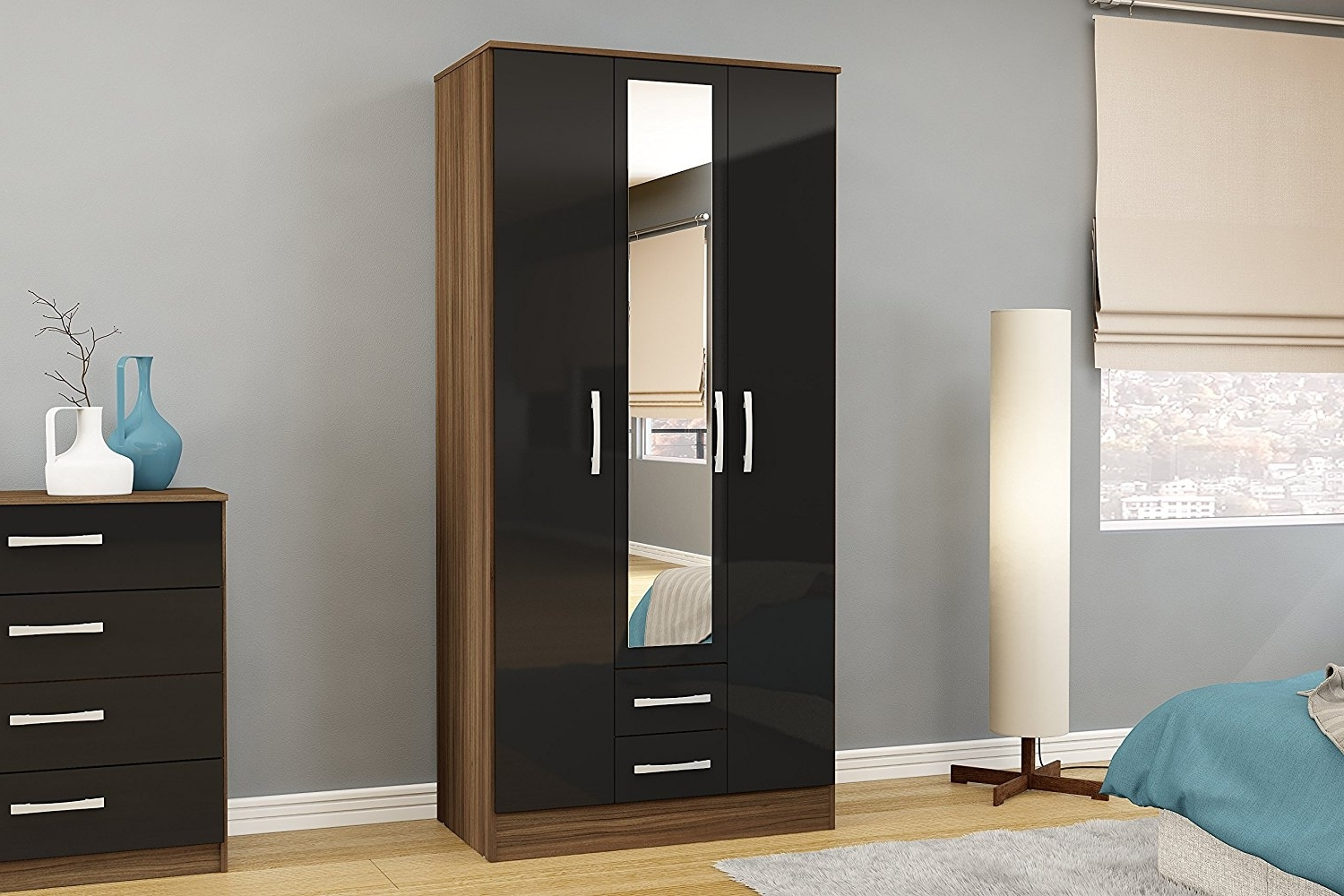 Fashionable Birlea Lynx 3 Door 2 Drawer Wardrobe With Mirror – High Gloss With Regard To Black Wardrobes With Mirror (View 9 of 15)