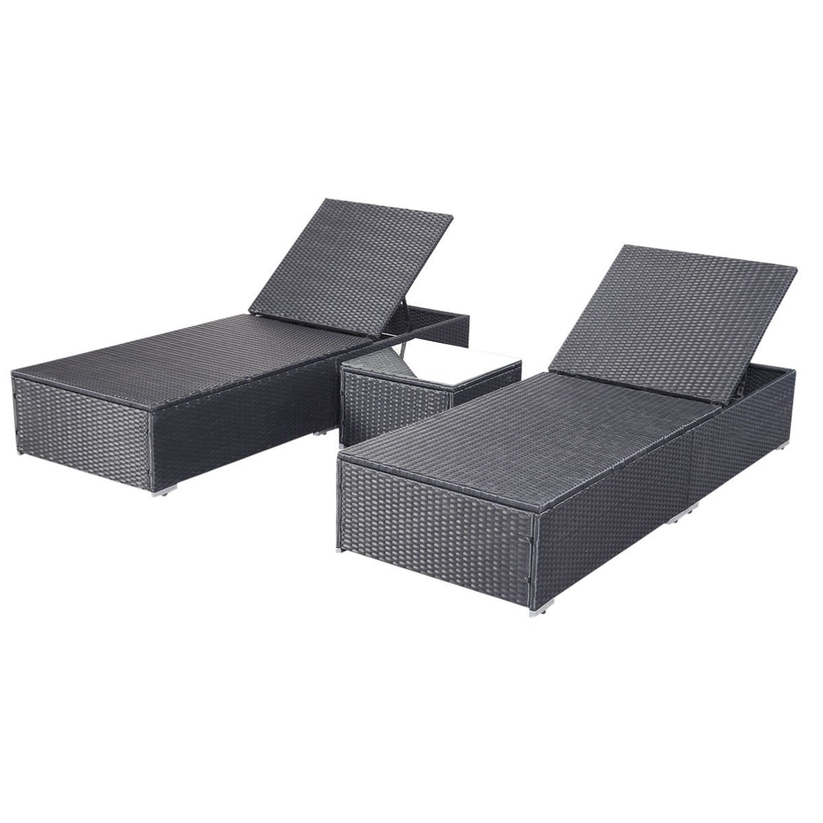 Fashionable Black Chaise Lounge Outdoor Chairs With Regard To Amazon : Tangkula 3 Pcs Wicker Outdoor Furniture Pool Chaise (View 12 of 15)