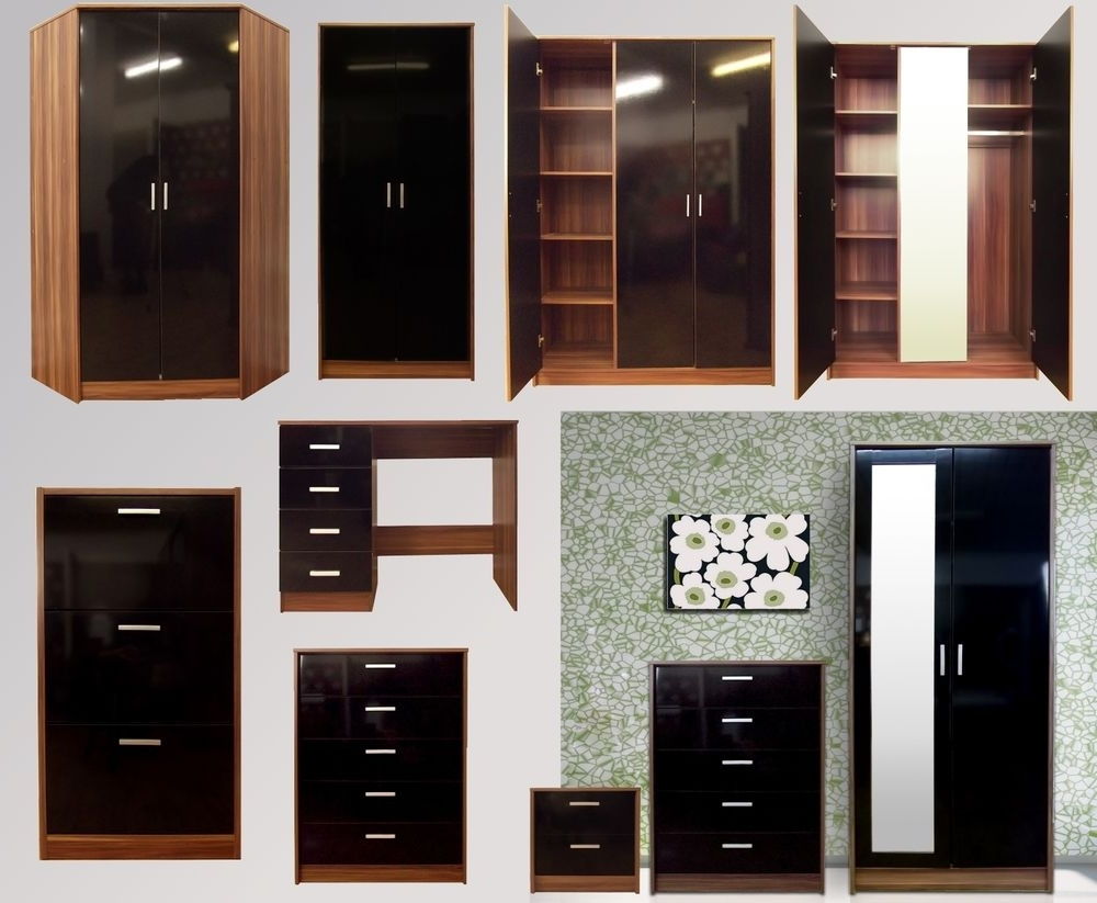 Fashionable Black Gloss Wardrobes Regarding Black Gloss Walnut Bedroom Furniture Range Wardrobe Chest Bedside (View 7 of 15)