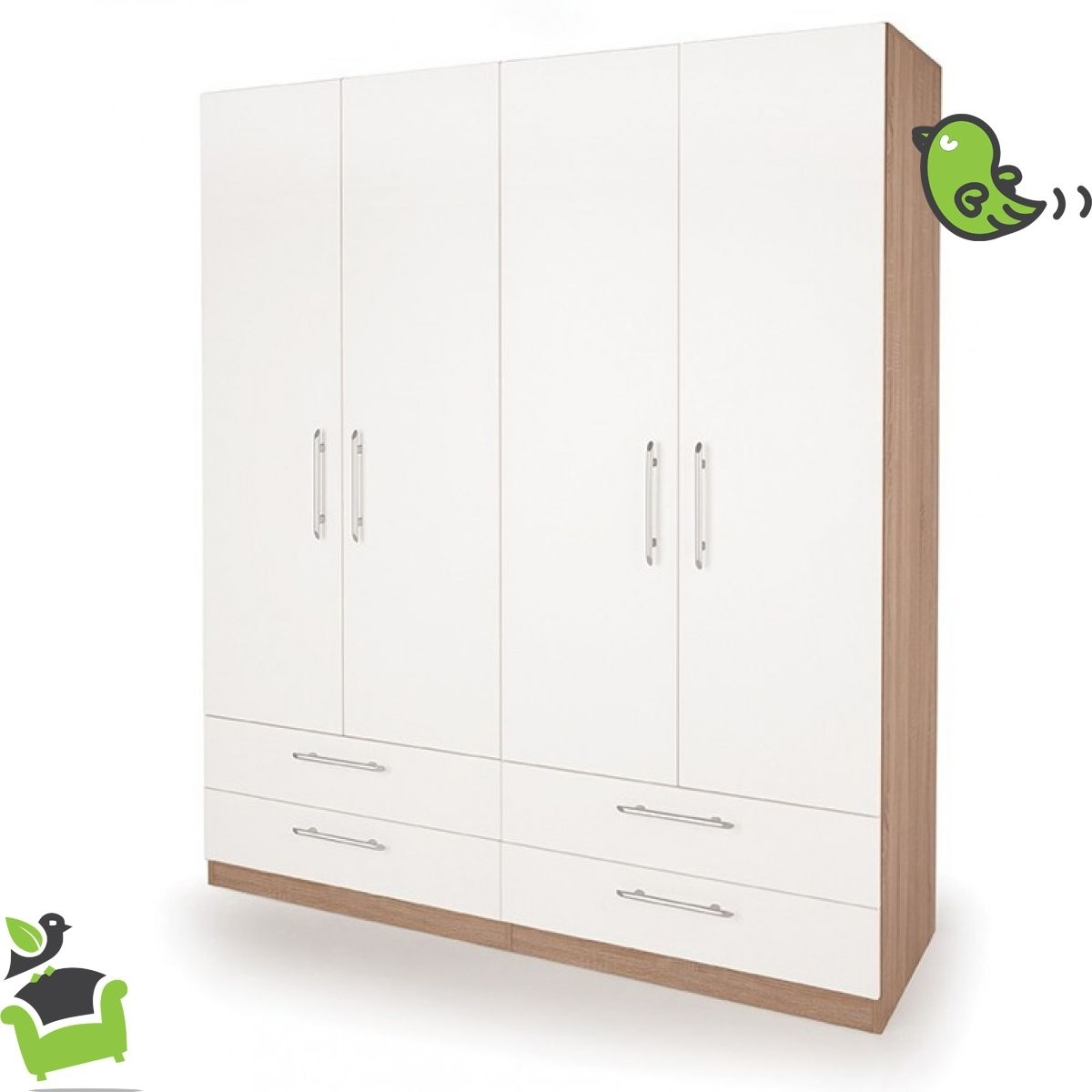 Fashionable Camden Wardrobes For Connect Camden 4 Door Wardrobe With 4 Drawers #bedroom #wardrobes (View 7 of 15)