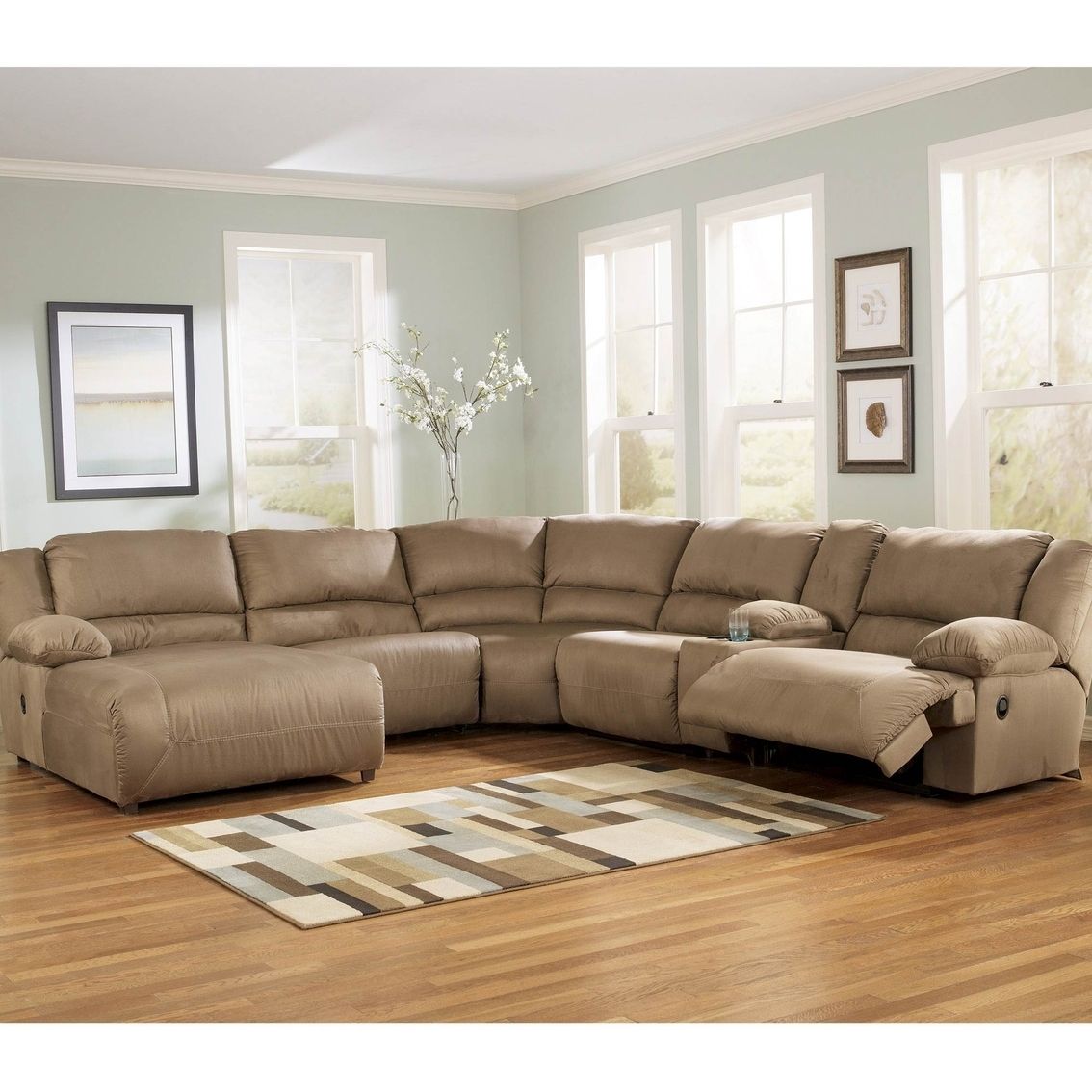 Fashionable Chaise Recliners Within Ashley Hogan Sectional With Two Recliners And Right Arm Facing (View 12 of 15)