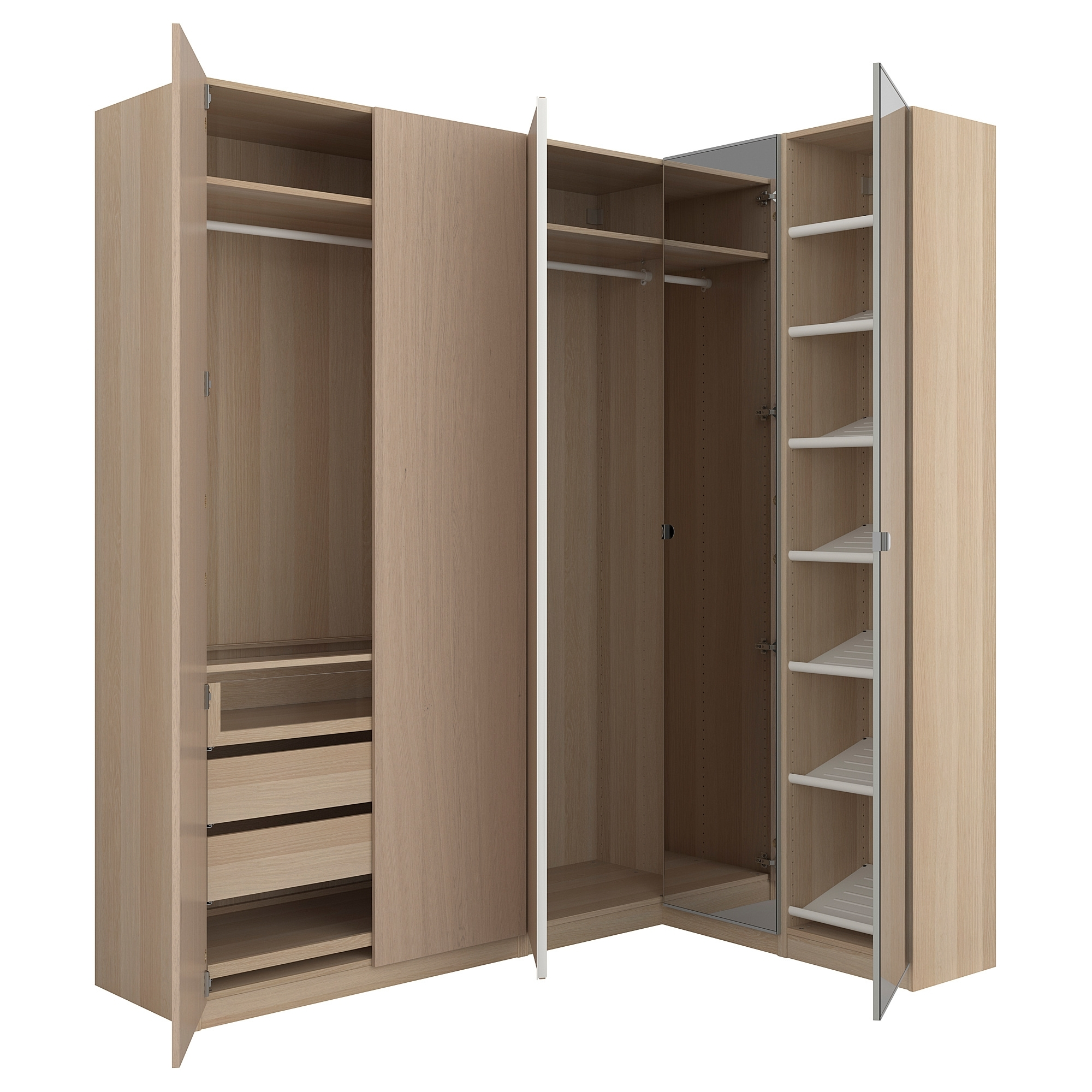 Fashionable Corner Wardrobes Inside Pax Corner Wardrobe White Stained Oak Effect/nexus Vikedal  (View 8 of 15)