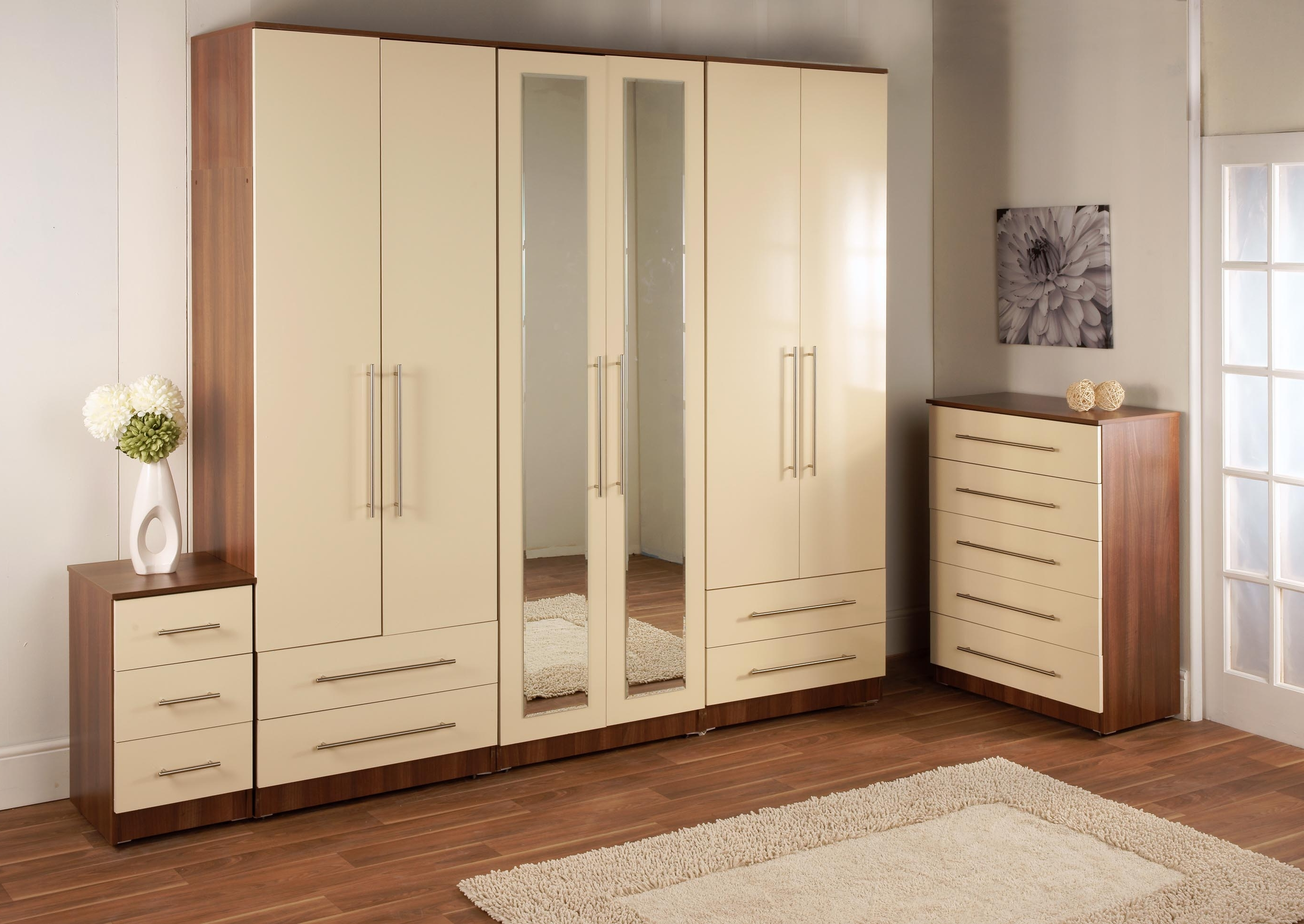 Fashionable Cream Gloss Wardrobes Throughout Bedroom Furniture Wardrobes (View 6 of 15)