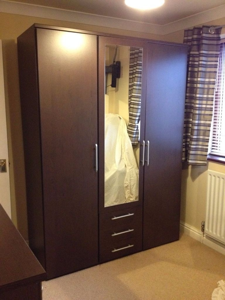 Fashionable Dark Brown Wardrobes In Argos Vancouver 3 Door Mirror Wardrobe And Chest Of Drawers Wenge (View 5 of 15)