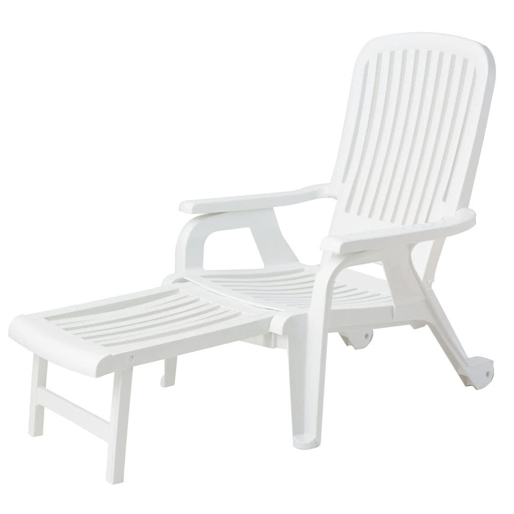 Fashionable Grosfillex Us658004 White Bahia Stacking Resin Chair With Pull Out With Grosfillex Chaise Lounge Chairs (View 11 of 15)