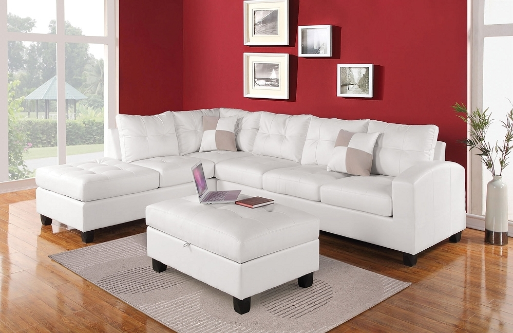 Fashionable Kiva White Bonded Leather Reversible Sectional Sofa & Storage Ottoman Inside Red Leather Sectional Sofas With Ottoman (View 9 of 10)