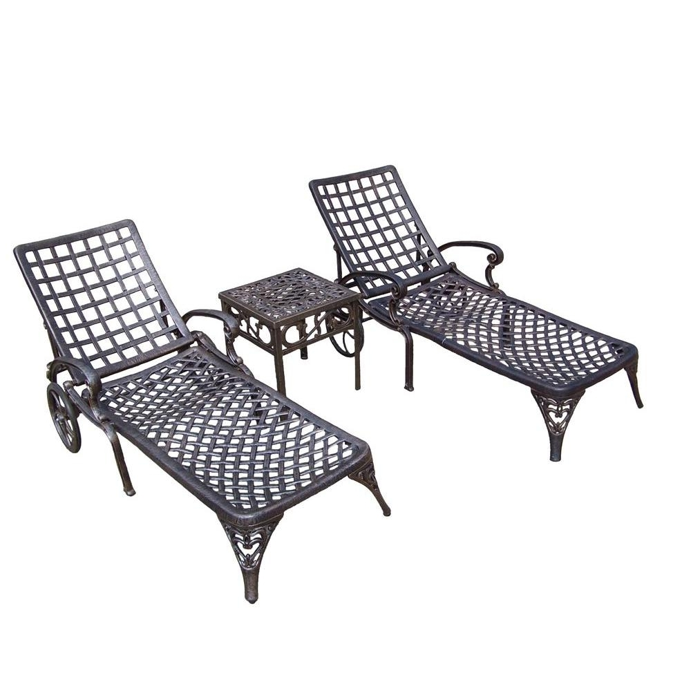 Fashionable Oakland Living Elite Cast Aluminum 3 Piece Patio Chaise Lounge Set Pertaining To Aluminum Chaise Lounge Outdoor Chairs (View 7 of 15)