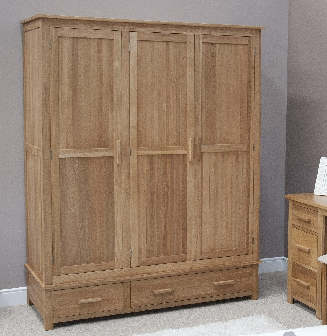 Fashionable Opus Solid Oak 3 Door Triple Wardrobe (View 2 of 15)