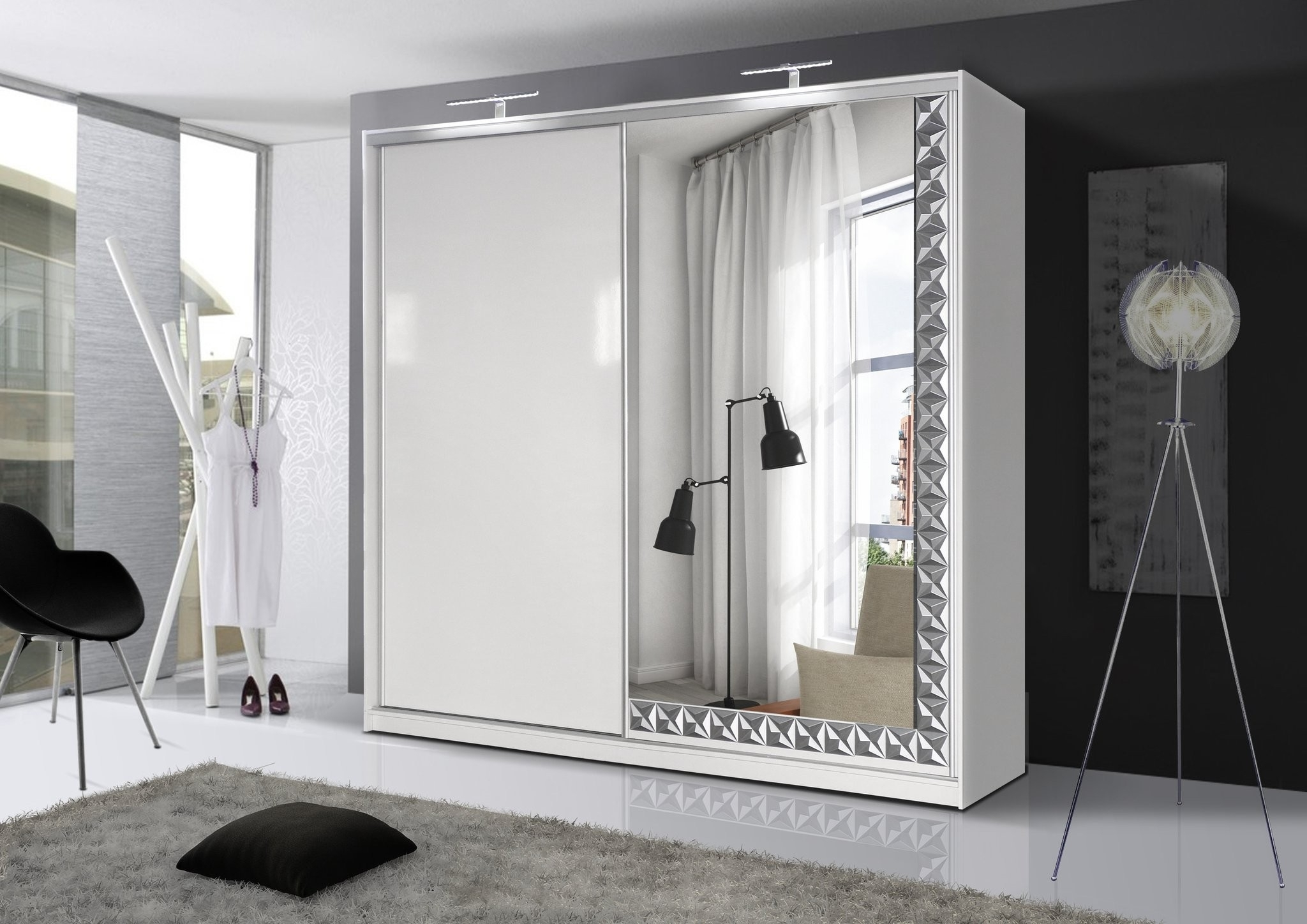 Fashionable Palermo High Gloss Mirror Sliding Wardrobe – Cheap Home Furniture With Black High Gloss Wardrobes (View 9 of 15)