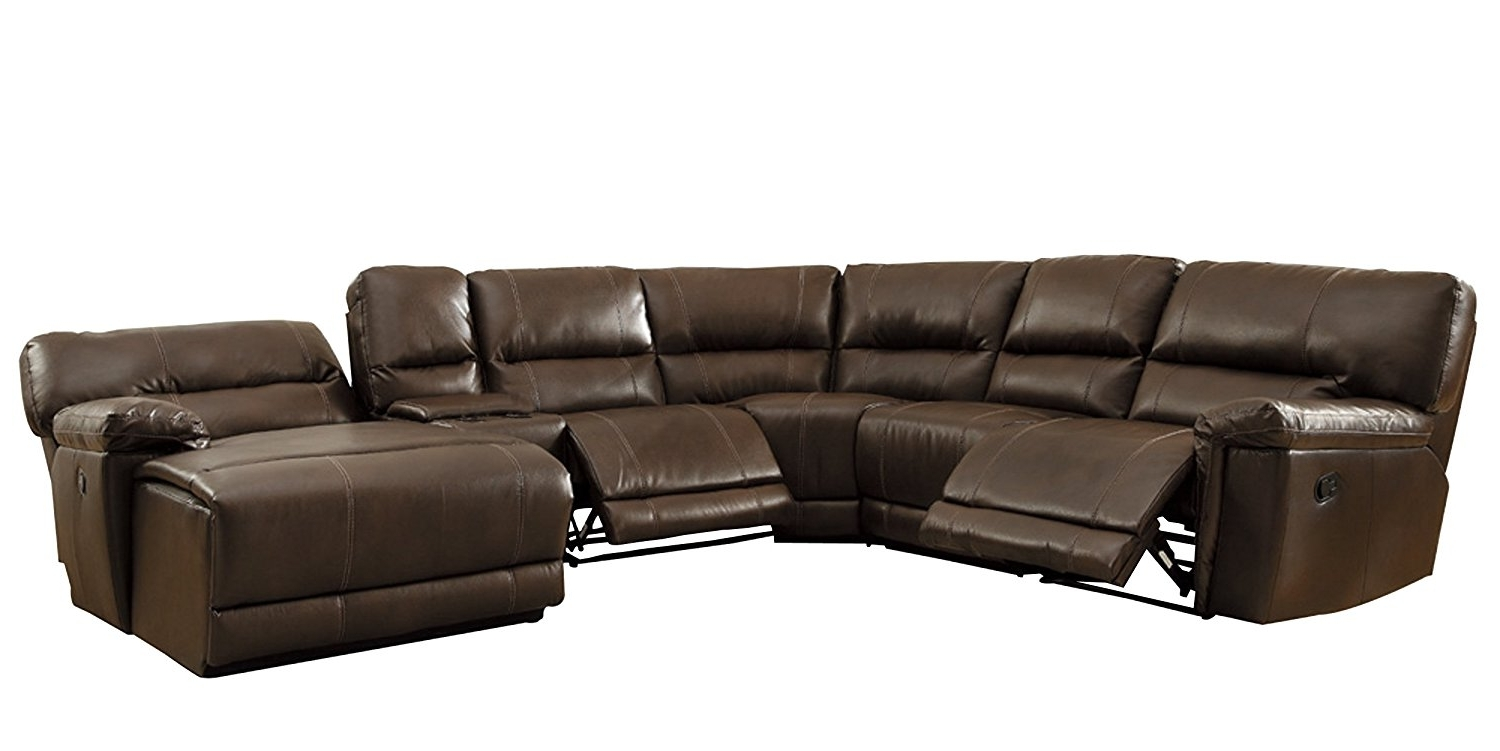 Homelegance 6 piece bonded leather sectional reclining sofa with chaise brown www - Leather reclining sectional with chaise ...