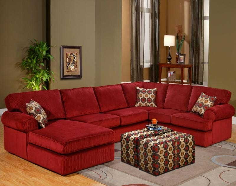 Fashionable Red Sectional Sofas With Ottoman Inside Red Sectional Sofa Be Equipped Red Leather Sectional Sofa With (View 3 of 10)