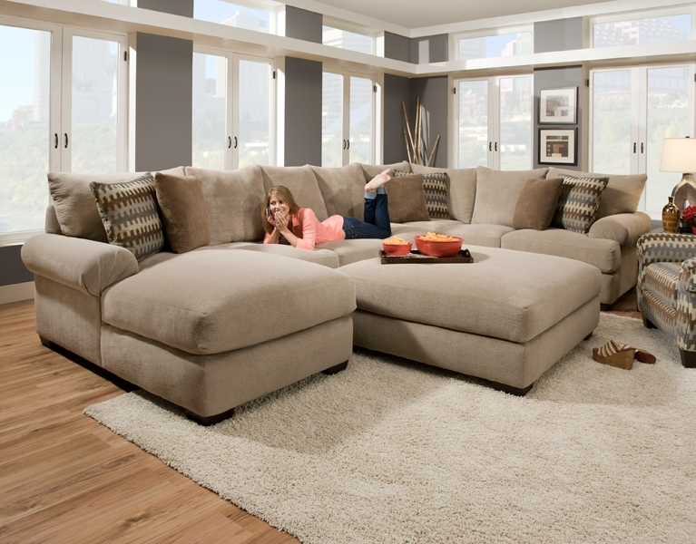 Fashionable Sofas With Oversized Pillows In Massive Sectional Featuring An Extra Deep Seat With Crowned (View 7 of 10)