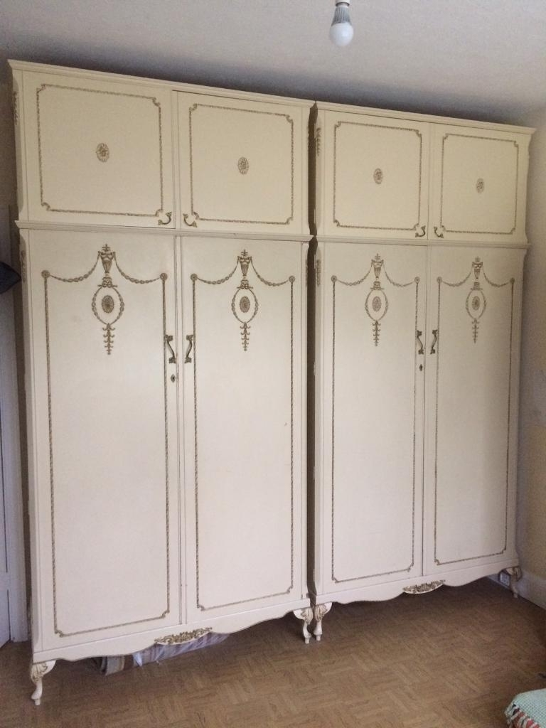 Fashionable Vintage Solid Wood Double Wardrobeswalnut Cabinet Works London Throughout Cream Wardrobes (View 5 of 15)