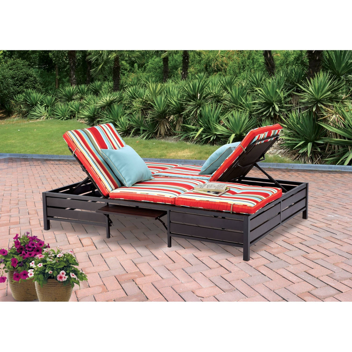 Fashionable Walmart Chaise Lounge Cushions With Mainstays Outdoor Double Chaise Lounger, Stripe, Seats 2 – Walmart (View 2 of 15)