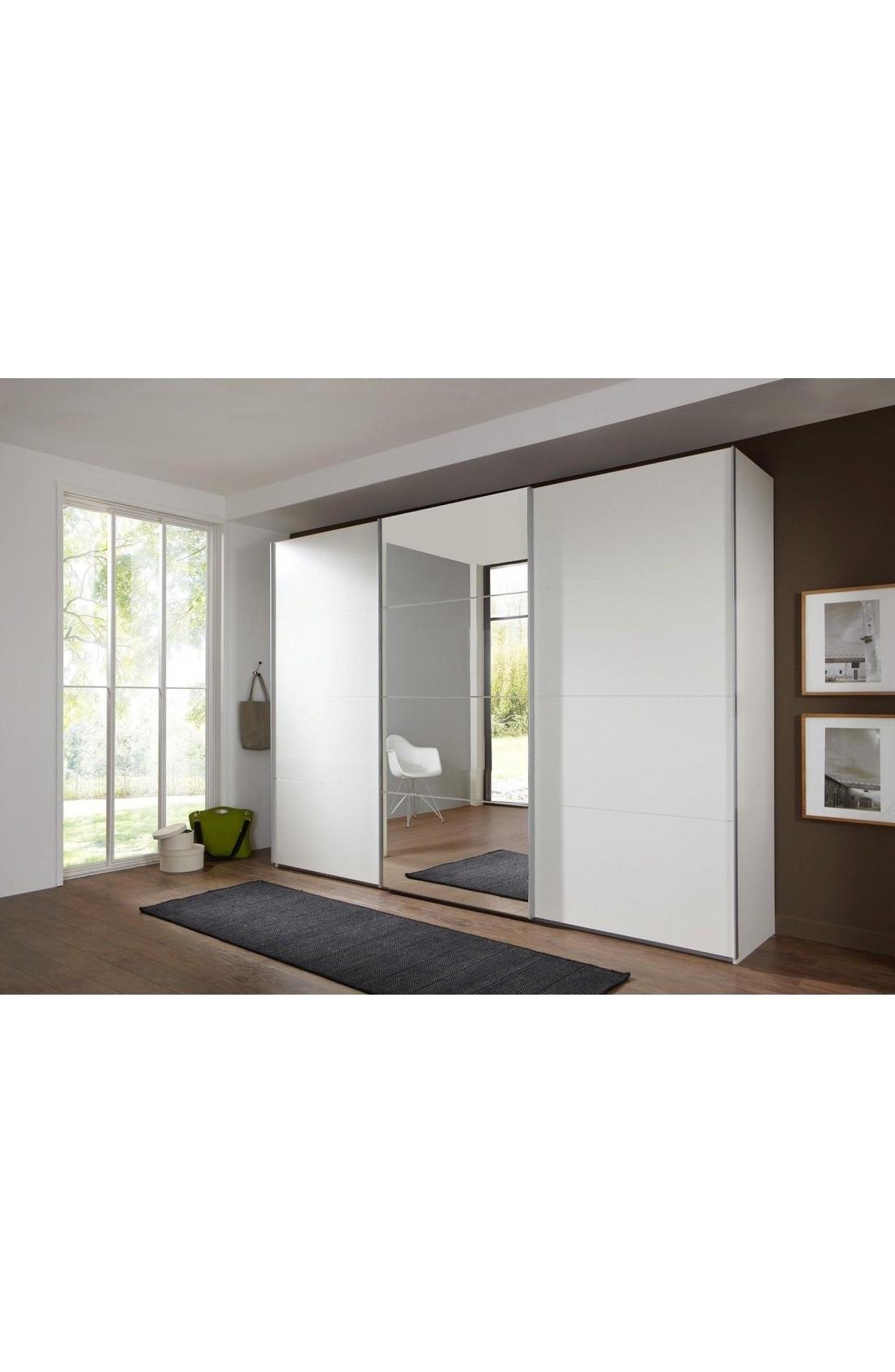 Fashionable White 3 Door Wardrobes With Mirror With Regard To Slumberhaus 'ernie' German Made Modern 270cm White & Mirror 3 Door (View 15 of 15)