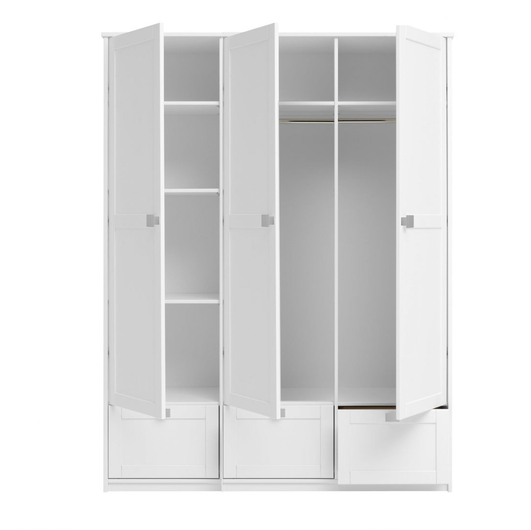 Fashionable White Triple Wardrobe With Drawers And Mirror 3 Door Argos With Regard To White 3 Door Wardrobes With Drawers (View 4 of 15)