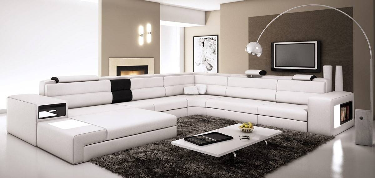 Fashionable Wide Sectional Sofas Inside Extra Large Leather Sectional Sofa With Attached Corner Table (View 9 of 10)