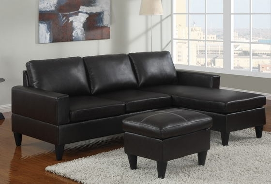 Faux Leather Sectional Sofas Within Preferred Poundex F7297 1 3 Pc Black Faux Leather Apartment Size Sectional (View 4 of 10)