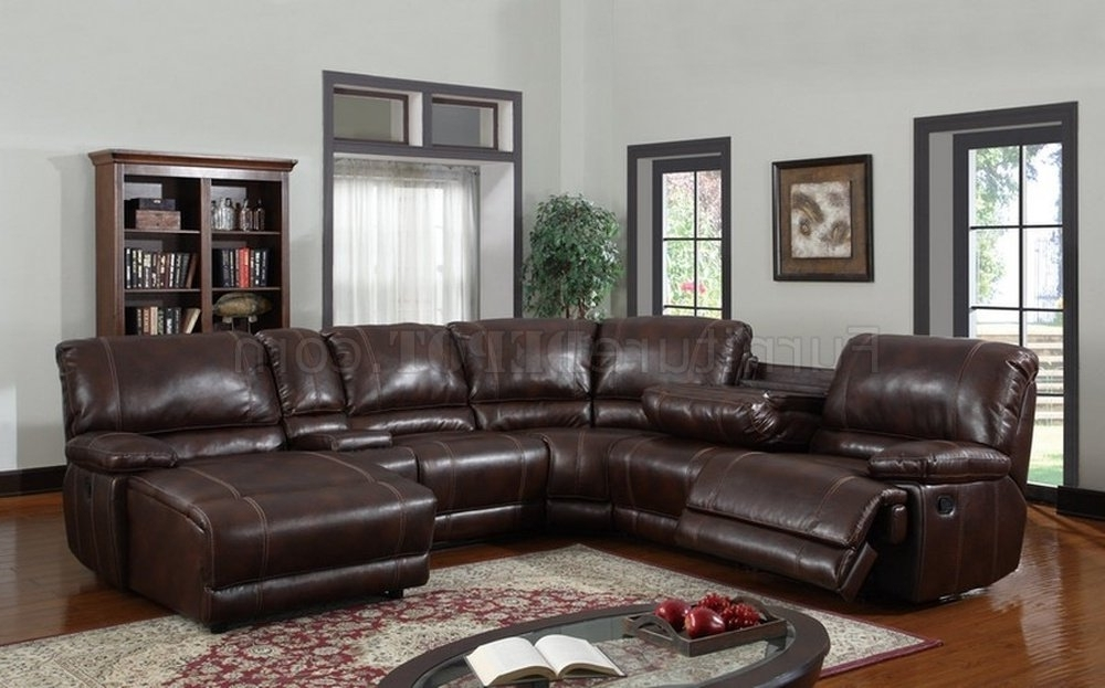Favorite 6pc Reclining Sectional Sofa In Brown Bonded Leather Within 6 Piece Leather Sectional Sofas (View 14 of 15)