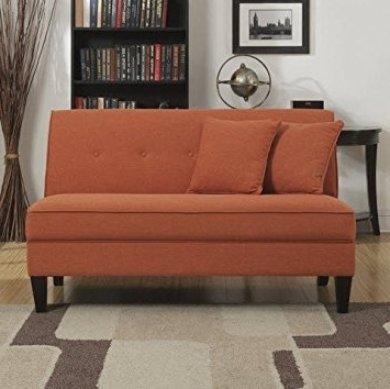 Favorite Amazon: Portfolio Engle Modern Orange Linen Armless Loveseat Regarding Small Armless Sofas (View 2 of 10)