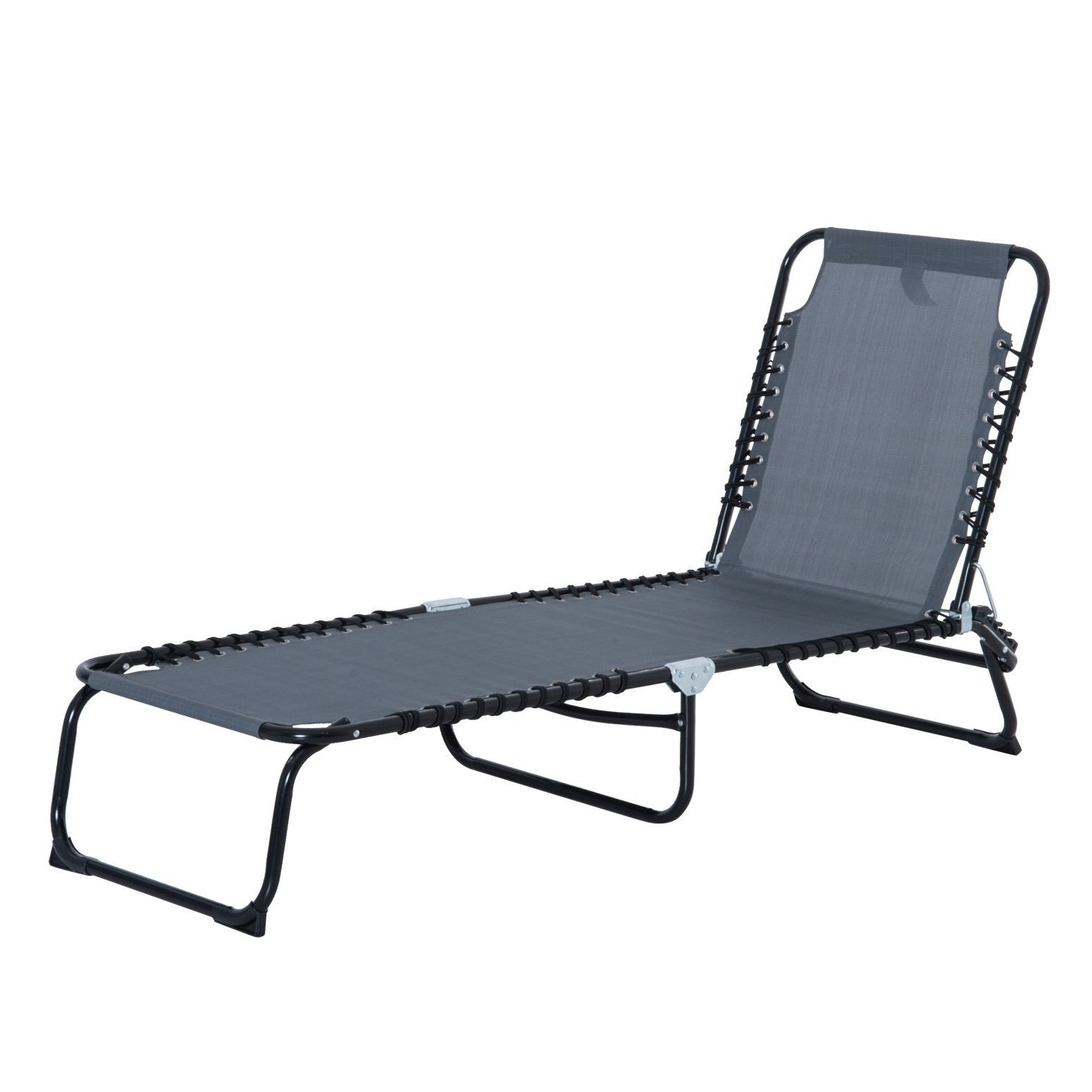 Favorite Beach Chaise Lounges Within Outsunny 3 Position Portable Reclining Beach Chaise Lounge Tri (View 9 of 15)