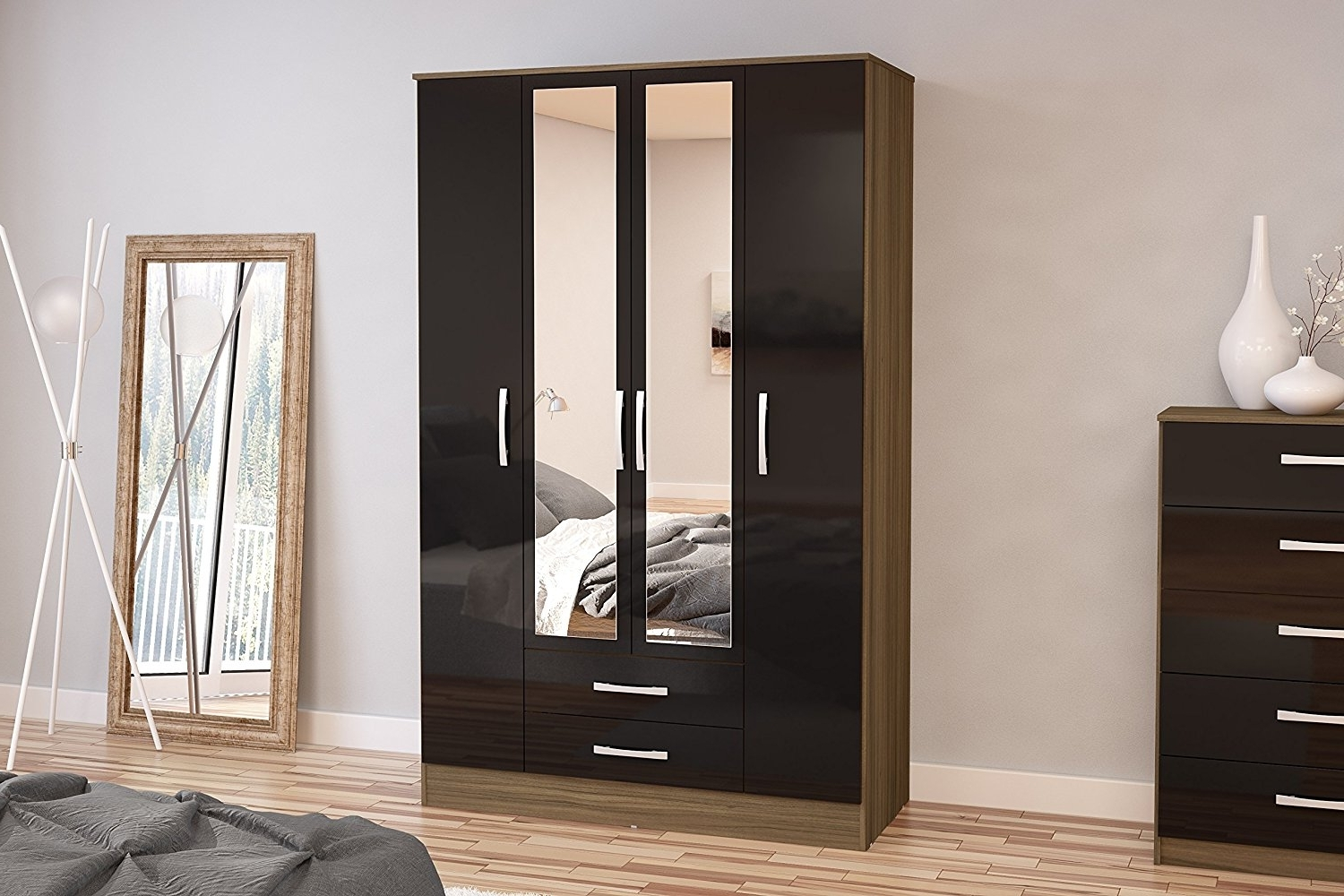 Favorite Birlea Lynx 4 Door 2 Drawer Wardrobe With Mirror – High Gloss Pertaining To Single Black Wardrobes (View 12 of 15)