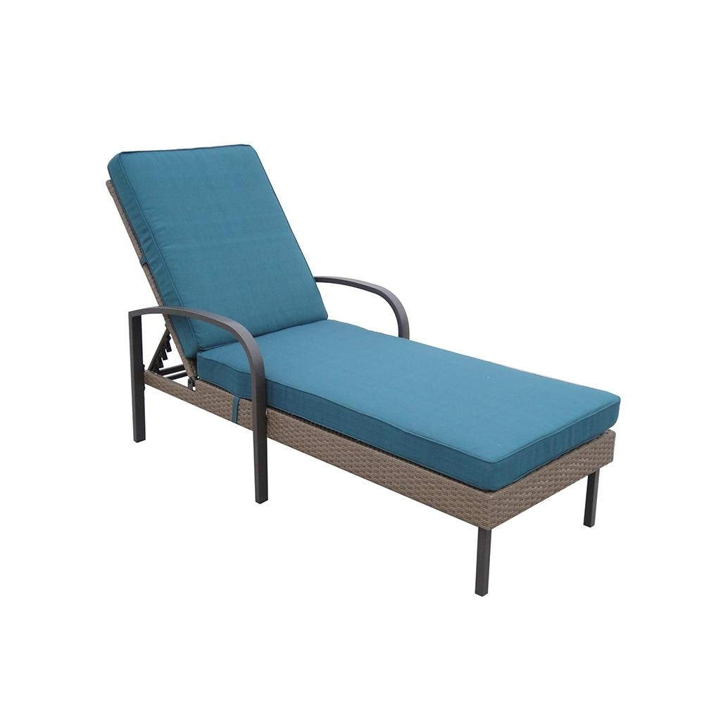 Favorite Blue Outdoor Chaise Lounge Chairs With Regard To Hampton Bay Corranade Wicker Chaise Lounge With Charleston (View 4 of 15)