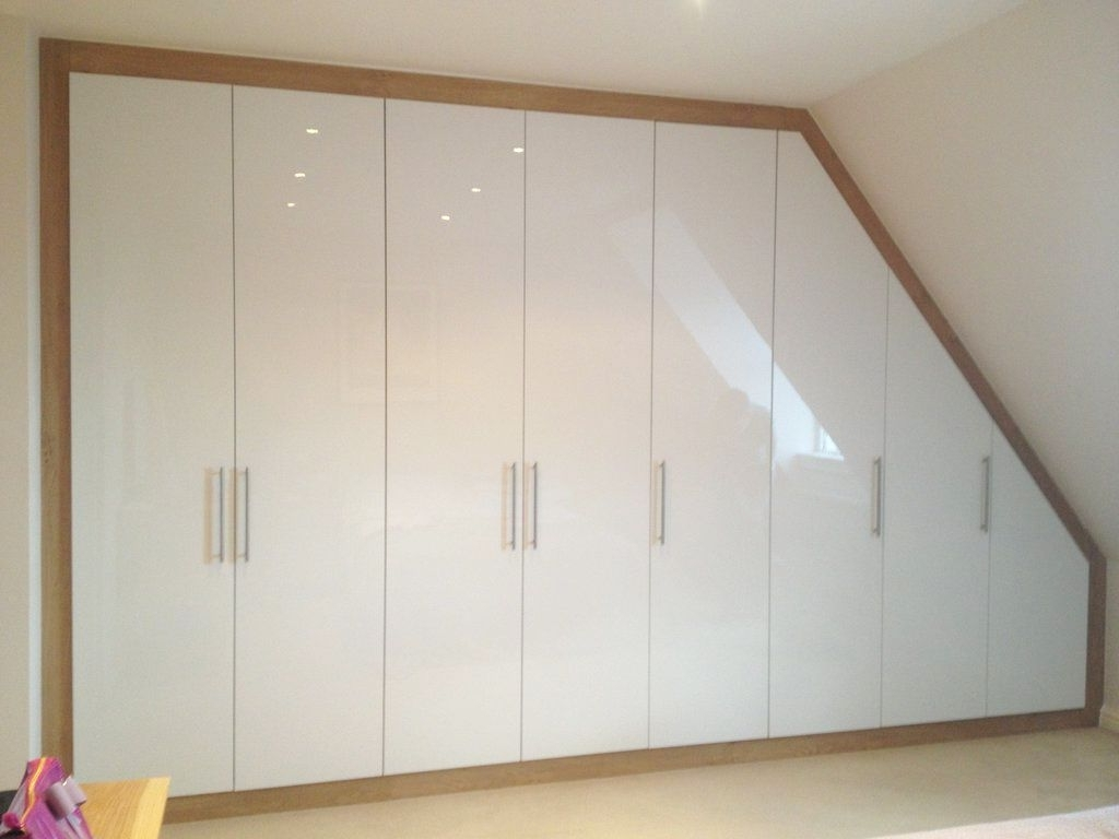 Favorite Built In Loft Wardrobe With Acrylic White Gloss Doors And Oak With Oak And White Wardrobes (View 7 of 15)
