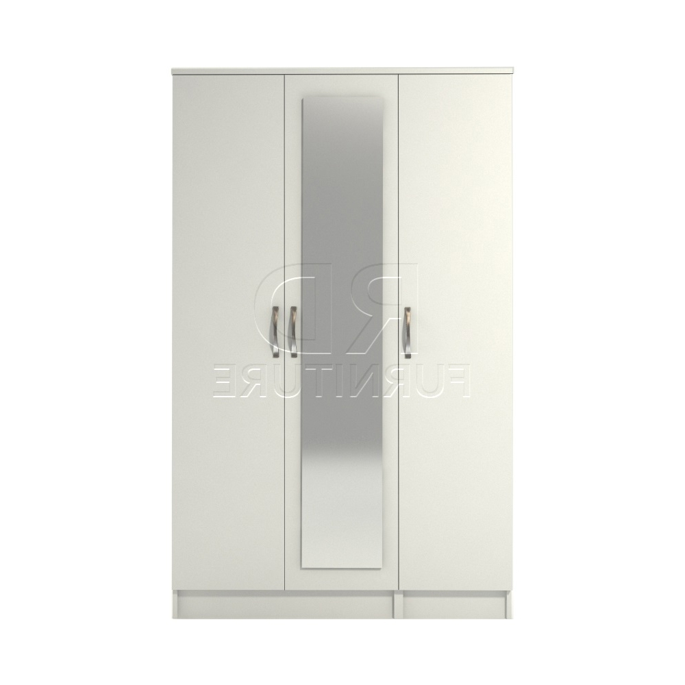 Favorite Classic 3 Door Mirrored Wardrobe White Finish – Rdfurniture For White 3 Door Mirrored Wardrobes (View 6 of 15)